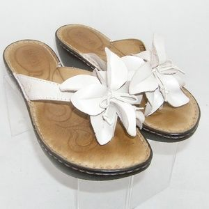 Born cream floral bow thong slide wedges 7 38